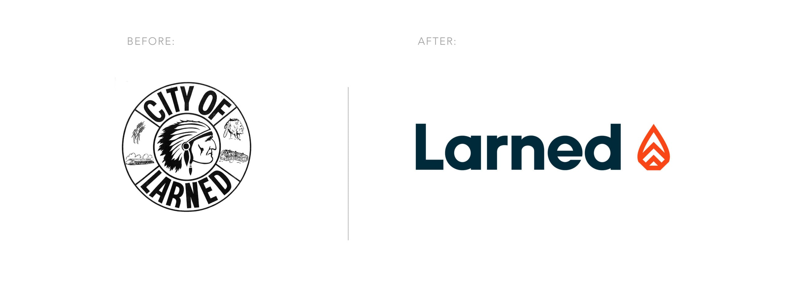 Larned Logos before and after